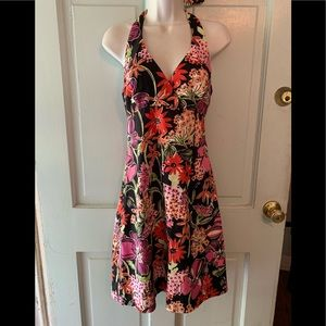 Lilly Pulitzer hibiscus floral halter dress 6 MINT